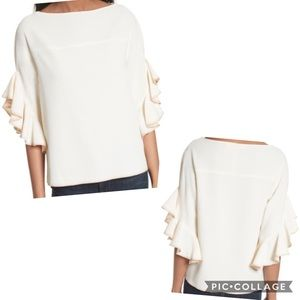See by Chloe Boar Neck Ruffle Trimmed Crepe Top